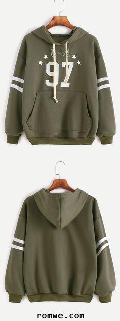 Army Green Varsity Print Hooded Sweatshirt