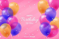 Birthday background with realistic balloons Free Vector Happy Birthday Balloon Banner, Birthday Background, Your Design, Vector Free, Birthday Parties, Invitations, Party, Graphic Design, Happy Birthday Balloons