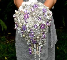 This is one Bouquet you'll never stop taling about, lifetime! Deposit on lavender cascading jeweled brooch bouquet -- made to order wedding brooch bouquet Purple Wedding, Dream Wedding, Wedding Day, Wedding Flowers, Summer Wedding, Bling Wedding, Wedding Stuff, Lego Wedding, 2017 Wedding