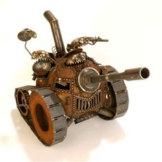 Gnome Tank- recycled metal art with attitude
