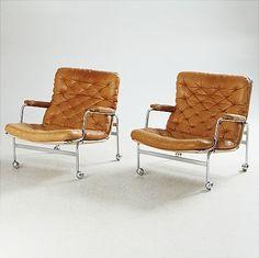 "Bruno Mathssons ""Karin i brunt skinn eller rosa eller naturfärgad. Vintage Design, Retro Vintage, Home Interior, Interior Design, Soft Seating, Cool Chairs, Mid Century Furniture, Mid Century Design, Sofa Chair"