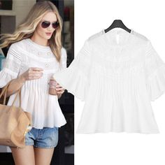 Chiffon Embroidered Sheer Bell Sleeve Blouse