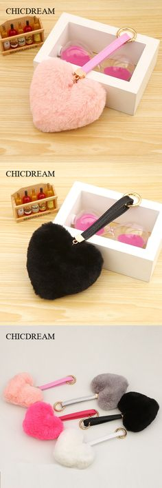 CHICDREAM 2017 Love Heart Fur Keychain,Fur Rabbit Pom Pom Keychain Women Leather Fluffy keychain Porte Clef Llaveros Keyring