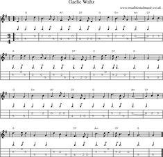 Sheet-music score, Chords and Mandolin Tabs for Gaelic Waltz Music Tabs, Music Chords, Violin Sheet Music, Acoustic Music, Lyrics And Chords, Mandolin Songs, Mandolin Lessons, Ukulele Songs, Music Songs