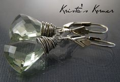 Two stunning, sparkling, faceted, trilliant shaped minty green briolettes of genuine Prasiolite (Green Amethyst) gemstone in a very soft pale green