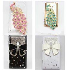 1x 3D bling peacock bow diamond leather hard skin case cover FOR Nokia Lumia 521. LOVE!!!!!!!!!!!!!!!!!!!!!!!!!! <3<3<3