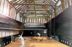 Esquisse du futur jeu de paume par l'architecte Martin Brunelle (CHINON, France)