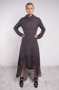 This gorgeous knit grey dress is OOAK ! This crochet grey dress is made of  woolen yarn. It's tremendous! Very soft,comfortable ,and chic! This crochet black dress can be worn to any event . This croc