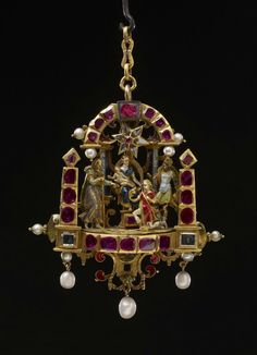 Gold-enamelled pendant, depicting the Adoration of the Magi, German, perhaps Dresden or Munich, late 16th or early 17th century. Bequeathed by Baron Ferdinand Anselm Rothschild, 1898. Ex-collection Countess of Mount Charles, ex-collection Elizabeth Conyngham, Marchioness Conyngham. WB.148. British Museum collection. © Trustees of the British Museum