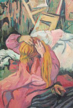 "Pablo Felipe Villegas Mañé ""Mujer peinándose"" Óleo sobre cartón  Homenaje a Henry Toulouse Lautrec  45 x 35 cm.  http://www.portondesanpedro.com/ver-producto.php?id=12047"
