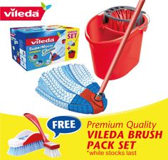 How would you like a FREE Vileda Brush Pack? Available with all purchases of the Vileda SuperMocio Complete Mop & Bucket set at our eBay store (Australian eBayers only). Be quick, this hot deal is only available in November!