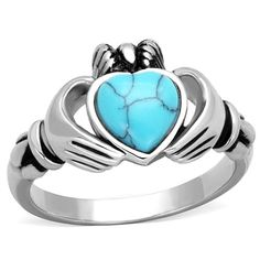 Stainless Steel King Claddagh Blue Turquoise Heart Irish Celtic Ireland Ring - Blue Ring -Ideas of Blue Ring - 0 The post Stainless Steel King Claddagh Blue Turquoise Heart Irish Celtic Ireland Ring appeared first on Awesome Jewelry. Friendship Rings, Color Turquesa, Celtic Wedding Rings, Pagan Wedding, Titanium Jewelry, Steel Jewelry, Jewelry Rings, Silver Jewelry, Yoga Jewelry