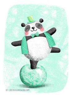 A talented panda © Gina Maldonado 2015 #panda #illustration #cute #kawaii #kidlitart cocogigidesign.com