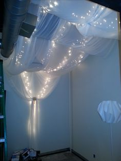 Fun doing draperies & lights & beauty! This is the facial room. More