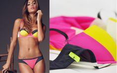 Donna | Intimo | Reggiseno a balconcino e brasiliana colour block | Goldenpoint