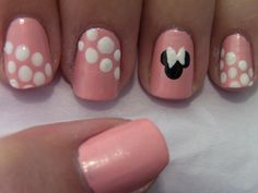 Pink Minnie Mouse Nail Art