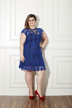 Vestido de crochê Plus Size azul - Gráfico e pap - Toda Moderna