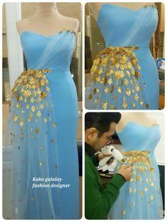 Kako galalay fashion designer Blue dress & gold leaf