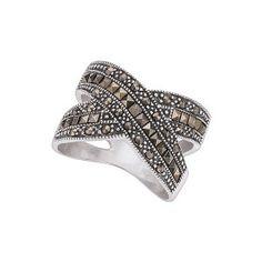 Sterling Genuine Marcasite Criss Cross Ring