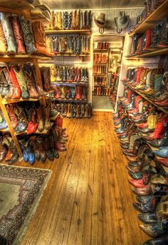 Vintage boots inside the Wild West Store, Wimberley Tx.     Photo by Dave Wilson Photography