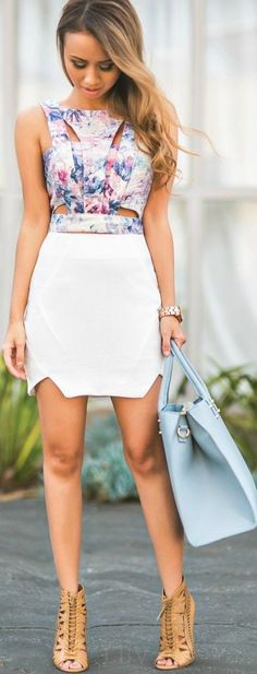 Most Trending Cute Summer Outfit Multi Color Top and White Skirt Look