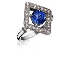 Bague Art Deco ELVIRE Or Blanc, Diamants et Saphir. Bague ancienne. #bague #artdeco #orblanc #diamants #saphir #ancienne #luxe #valeriedanenberg
