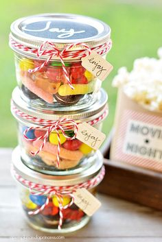 Cute Idea! Doesn't need to be just candy for movie night... Candy Filled Mason Jars with Chalkboard Tags