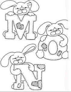 Alfabeto de conejitos para colorear. | Oh my Alfabetos! Alphabet For Kids, Alphabet And Numbers, Fonte Alphabet, Coloring Books, Coloring Pages, Alphabet Templates, Embroidery Alphabet, Fabric Painting, Sewing Patterns