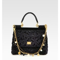 Dolce & Gabbana Mini Miss Sicily Floral Lace & Sequins Satchel ❤ liked on Polyvore