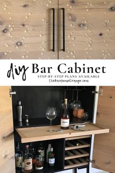 The ultimate bar cabinet design with space for all your libations. Step-by-step build plans available, plus tips on how to custom carve bubbles into it!
