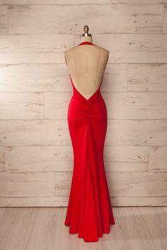 Liberec Feu - Red fitted halter maxi dress