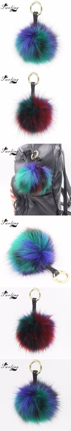 Furling 1PC Red Green Faux Fox Fur Keychain Keyring Multicolor pompom with PU Leather Strap Round ring Clasp