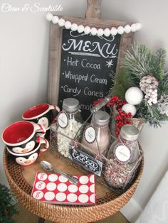 Make your own Candy Cane Hot Cocoa Bar for any get together you host at your home this season! I ADORE this idea from @ Clean and Scentsible and think I need a Hot Cocoa Bar in my home ASAP. /ES Create a fun candy cane hot cocoa bar for the winter season! Christmas Hot Chocolate, Hot Chocolate Bars, Christmas Kitchen, Noel Christmas, Christmas Brunch, Mason Jar Gifts, Mason Jar Diy, Hot Coco Bar, Indoor Christmas Decorations
