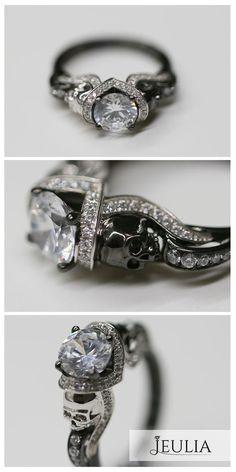 Idée et inspiration Bijoux :   Image   Description   Jeulia HaloTwo Tone Round Cut Created White Sapphire Skull Ring