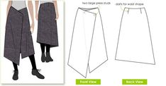 Clever one piece no fuss asymmetrical wrap skirt