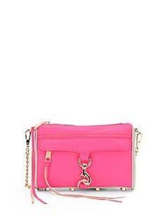 NWT Rebecca Minkoff Mini MAC Leather Shoulder Satchel Neon Pink #RebeccaMinkoff #MessengerampampCrossBody
