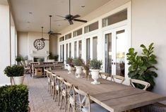 Dodson and Daughter Interior Design: Beautiful deck/patio design with wood plank outdoor dining table, French cafe chairs - fireplace with outdoor living space Outdoor Rooms, Outdoor Decor, Outdoor Fans, Rustic Outdoor, Outdoor Living Spaces, Rustic Patio, Outdoor Patio Fans, Country Patio, Outdoor Kitchens