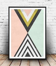 Geoemtric abstract, watercolor print, Abstract print, Triangles print, pink gold, wall print, modern poster, scandinavian art, office decor