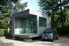 L41 Studio | Architect: Michael Katz  | Artist: Janet Corne |  This prefab home is ultra-compact, built with green materials and energy efficient. Designed to be constructed on piers or a four-point foundation, the home could easily be located on any site with minimal impact.