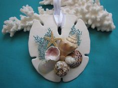 Sand Dollar Shell Ornament, Seashell Ornament, Beach Decor Christmas Ornament, Wedding Ornament, Nautical Decor, Shabby Chic, Coastal Decor
