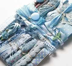 Vintage Pastel BABY BLUE Trims Ribbons Sewing Notions