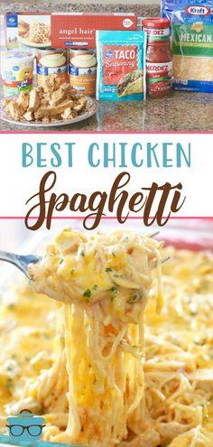 Chicken Spaghetti Recipes, Easy Chicken Dinner Recipes, Easy Recipes, Chicken Spaghetti Casserole, Cheesy Chicken Casserole, Chicken Appetizers, Hamburger Casserole, Chicken Meals, Kraft Recipes
