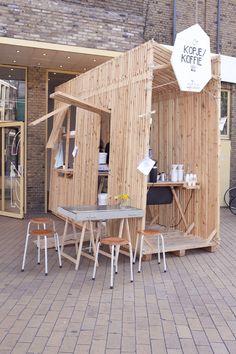 Pop up wood outdoor spaces design wood Kiosk Design, Cafe Design, Booth Design, Retail Design, Store Design, Café Bar, Pop Up Restaurant, Restaurant Design, Architecture Restaurant
