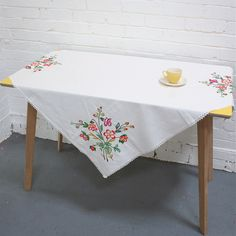 Image of Vintage Embroidered Linen Tablecloth