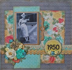 1950...a lively color palette and a vintage wallpaper background gives this page a great retro look.