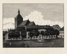 Rügenwalde: Marktplatz mit Rathaus und Marienkirche  Monogrammist A W  Deutschland, um 1900  Federzeichnung  Deutsches Historisches Museum, Berlin