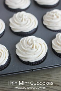Thin Mint Cupcakes with Mint Buttercream.