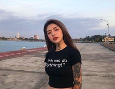 Image may contain: 1 person, standing, sky, ocean, outdoor and water Tumbr Girl, Mujeres Tattoo, Uzzlang Girl, Cute Korean Girl, Sexy Asian Girls, Inked Girls, Asian Woman, Pretty People, Girl Tattoos