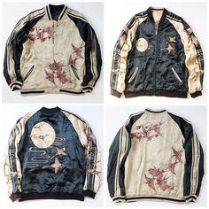 Vintage Satori Japanese Crane Tsuki Moon Birds Gold Black Embroidered Sukajan Souvenir Jacket - Japan Lover Me Store