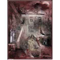 """MERLIN MANSION...must read by susan-holsclaw-atwell on Polyvore featuring art--Congratulations! Your entry """"MERLIN MANSION...must read"""" to """"Tell a Ghost Story"""" has won """"2nd"""" place! on 06.18.2015"""